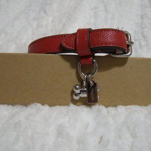 Coach Small Leather Pet Collar (Red)